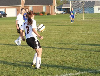 Pictured is Jenning's Senior forward Marina Weems pushing the ball toward that Licolnview goal last Wednesday.
