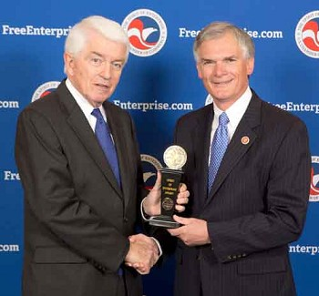 Congressman Bob Latta accepting the Spirit of Enterprise Award from Thomas J. Donohue, President and CEO of the U.S. Chamber.