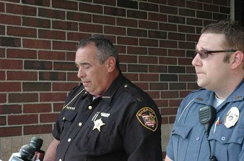 Lt. Joshua Strick (right) and Putnam County Sheriff Michael C. Chandler (left) brief the press outside the Putnam County Sheriff Office.