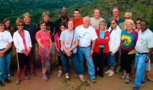 Members of the group who traveled to Tanzania included (front, left to right) Sue Zielinski, Angie Bidlack, Cindy Fitzgerald, Ellen Millott, Lois Hartings, Fr. Mark Hoying, Linda Gerdeman, Judy Sudhoff, Connie Cleemput, Fr. Alfons Minju and (back) Alison Fitzgerald, Amy Unverferth, Sara Nessman, Fr. Henry, Dean Renner, Mike Hoying, Bob Buss, Susan White and Joyce Buss. (Photo submitted)