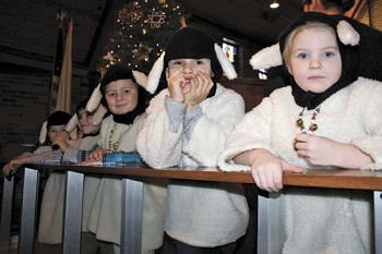 The sheep in the afternoon session of Ecumenical Christmas School waited patiently to begin the program for their parents, relatives, and friends. Pictured are (from left): Carson Oliver, Noah Liebrecht, Chase Niese, Blake Schnipke, Brayden Kuhlman and Hailee McCrate. (Putnam Sentinel/Becky Leader)