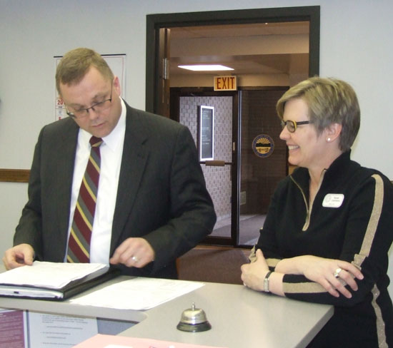 Putnam County Prosecutor Gary Lammers (above left) and Incumbant Judge Mike Borer both filed paperwork last Thursday to run on the Democrat ticket for Putnam County Probate Judge. (Putnam Sentinel/Nancy Kline)