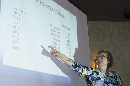 O-G Treasurer Kathy Fruchey talked district numbers at the Ottawa Area Chamber of Commerce luncheon on April 1. (Putnam Sentinel/Anne Coburn-Griffis)