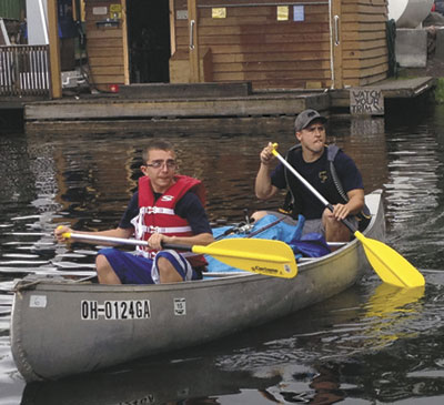 Daniel Hughes and Zach Buckland leaving on the first day from the marina. (Photo submitted)