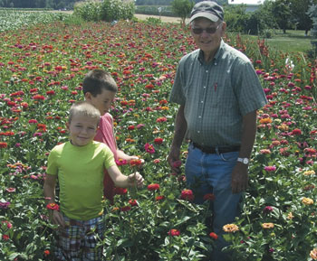 Jim Hovest with his grandsons Tanner and Troy Hovest stand in the large zinnia field Jim grows each year. (Putnam Sentinel/Nancy Kline)