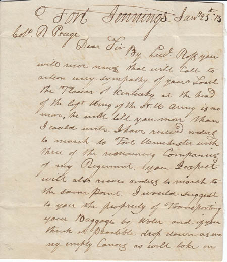 This year's exhibit at Memorial Hall will feature a private collection of 1812 War items owned by Lou Schultz which contains an authentic hand-written letter by Colonel William Jennings addressed to Lt. Col. Robert Pouge of the Kentucky Mounted Volunteer Militia. (Photo submitted)