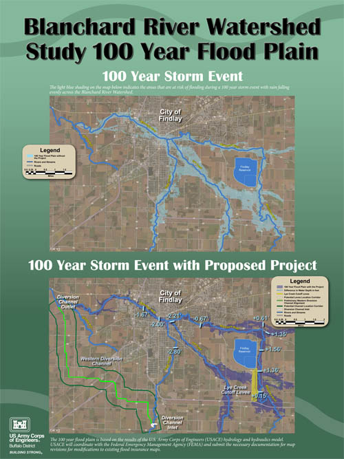 Visual aids to illustrate flood mitigation project in Findlay