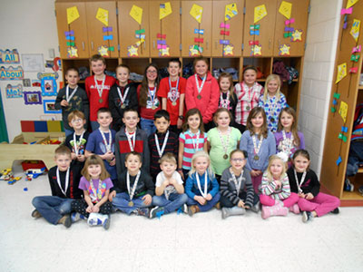 "Students from Pandora-Gilboa School in grades K-4 who have been chosen as ""Rocket of the Month"" include, front, from left, Ty Kinsinger, Sydney Brown, Kaleb Kisseberth, Colton McVicker, Elaina Slone, Ella Schroeder, Madison Lehman, Mackinley Gerten; middle, Rayden Campbell, Maddox Blank, Kenner Forney, Lane Salazar, Lola Zachrich, Miley Moore, Ashley Draper, Evelyn Leis; and back, Austin Giesige, Carter Berger, Nathan Walker, Brooklyn Leis, Zach Hohenbrink, Luci Hovest, Payge LaBean, Cora Hovest, Kya Hixo. Not pictured is Corrin Luginbill. During the month of January, students focused on ""Listen Before You Speak"". (Photo submitted)"