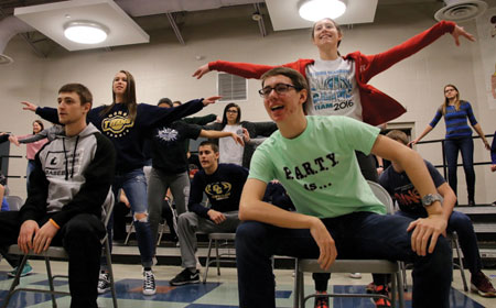 "The Ottawa-Glandorf Show Choir, ""Out of the Blue,"" rehearses ""Hallelujah, I Just Love Her So"" in preparation for the 2017 dinner theater. Pictured from left are: Jake Schriner, Mariah Schroeder, Gage Hoehne, and Ann Samuelson. (Putnam Sentinel/Becky Leader)"